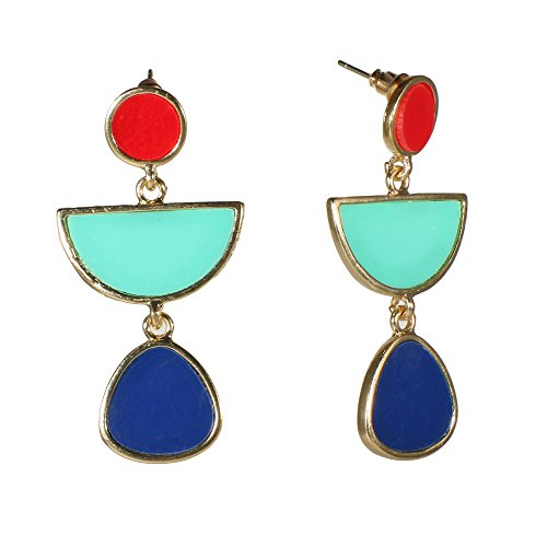 - Unique Blue Red Goldtone Drop Earrings Abstract Enamel Geometric Jewelry (Red/Blue)