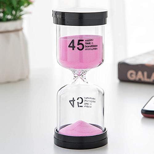 砂時計タイマー - プラスチック/ガラスの小さな砂のタイマーのホームオフィスの装飾、誕生日クリスマスギフトのために子供、45分、ピンク、5.2 * 13CM オフィスの装飾