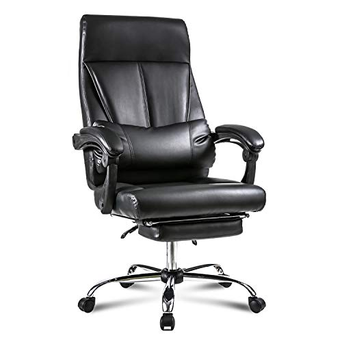 Merax Ergonomic Office Chair High-Back PU Leather Executive Chair Modern Style Computer Chair with Lumbar Support and Footrest