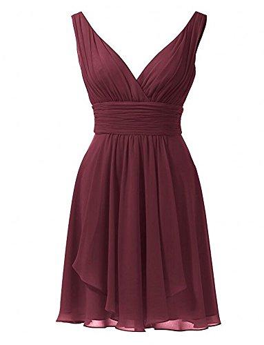 Botong Gown Short Chiffon Dresses Burgundy Aqua Sleeveless Bridesmaid Neck V Prom SZUxrw6qS