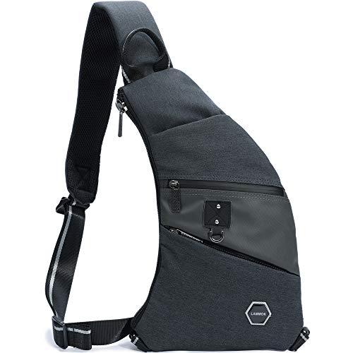 Slim Sling Bags, iPad Sling Backpacks Chest Shoulder Bag Outdoor Crossbody Backpack Thin Daypacks for Travel Men Women -
