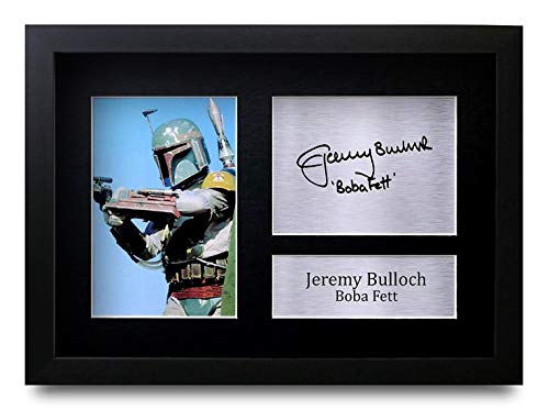 HWC Trading FR Jeremy Bulloch Gift Signed Framed A4 Printed Autograph Star Wars Gifts Boba Fett Print Photo Picture Display