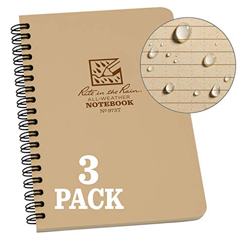 Spiral Recycle Notebooks - Rite in the Rain Weatherproof Side Spiral Notebook, 4.625