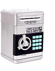 Spaarpot Electronic Password ATM Piggy Bank Automatische Money Boy And Girl Gift van de Verjaardag Spaarpotten voor volwassenen (Color : Silver)