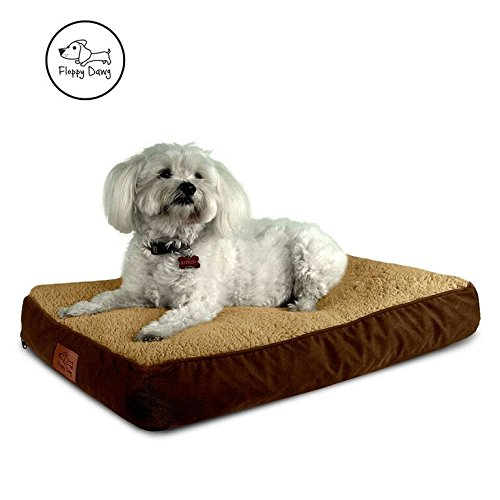 Floppy Dawg Medium Dog Pillow Made of Blended Memory Foam With Removable Cover and Waterproof Liner | Dog Bed Measures 30 x 19 x 4 Inches and Fits Medium Dog Crate | Sherpa Top and Suede - Sherpa Liner Dog