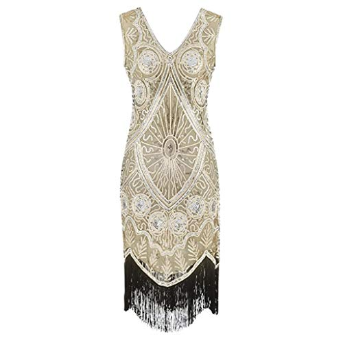Clearance Renaissance Dress,Forthery Women 1920s Gastby Sequin Art Nouveau Embellished Fringed Flapper Dress(Gold,L) -