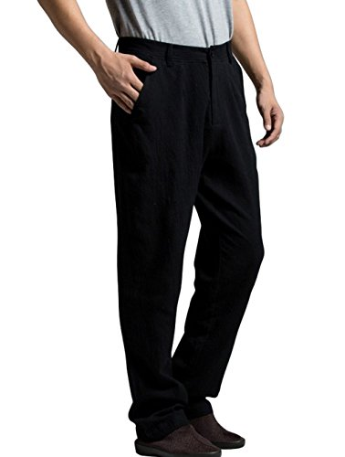 Katuo Men's Traditional Casual Pants Leisure Linen Pants ...