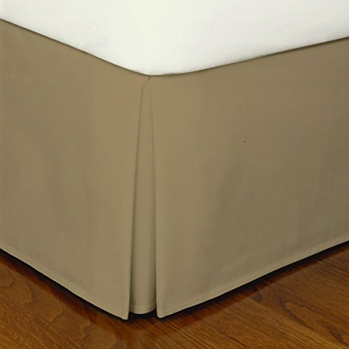 CRESCENT BEDDING Queen Taupe Brown Pleated Bed Skirt Easy Care, Quadruple Pleated Design, Fabric Base Allows for Natural Draping, 15