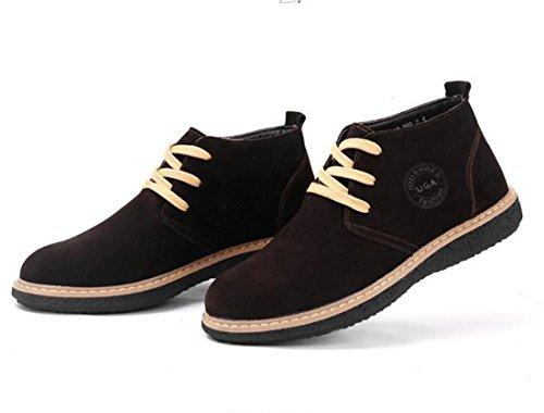 Mens Warm Winter Plus Velvet Cotton Faux Leather Snow Ankle Boots Shoes Brown CbQBwqNK9