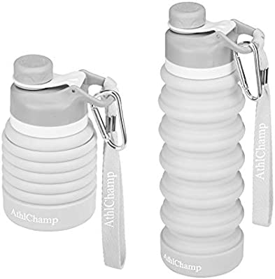 FDA Approved Food-Grade Silicone Reusable Leakproof Portable Water Bottle with Carabiner and Strap for Travel BPA-Free Hiking AthlChamp Collapsible Water Bottle Gym