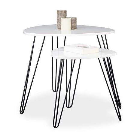 Amazon.com: Relaxdays – Juego de 2 mesas laterales, 3 patas ...