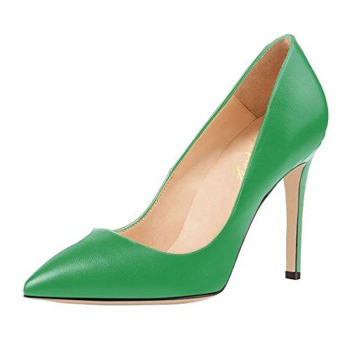 Frühling Sommer Herbst Heels Spitzschuh Große Größe Stiletto Schuhe für Damen SexyPrey Feste Grün zFSvpxq