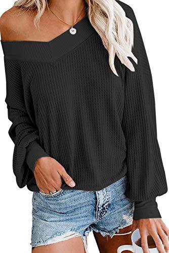 Damen Pullover Langarm Schulterfrei Oberteil Jumper Lose Sweatshirt Sexy Off Shoulder V-Ausschnitt Casual Strick Oberteile Lantern Sleeve Tops Loose Fit Herbst Winter