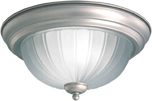 Forte Lighting 2037-02-55 Flush Mount with Fluted Satin Etched Glass Shades, Brushed Nickel ()