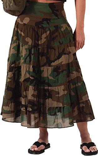 Womens Woodland Camo Gauze - Womens Woodland Camouflage Military Cotton Gauze Skirt