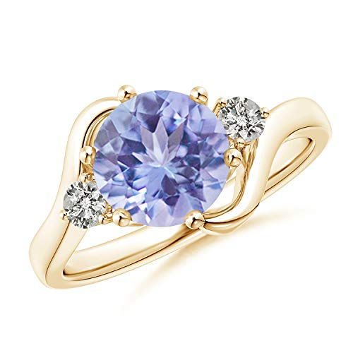 Round Tanzanite and Diamond Three Stone Bypass Ring in 14K Yellow Gold (8mm - Round Tanzanite Ring Diamond