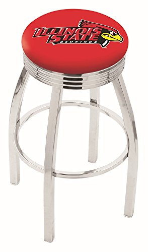 "Logo Series Bar Stool NCAA Team: Illinois State University, Size: 25"", Frame Type: Solid Welded Black"