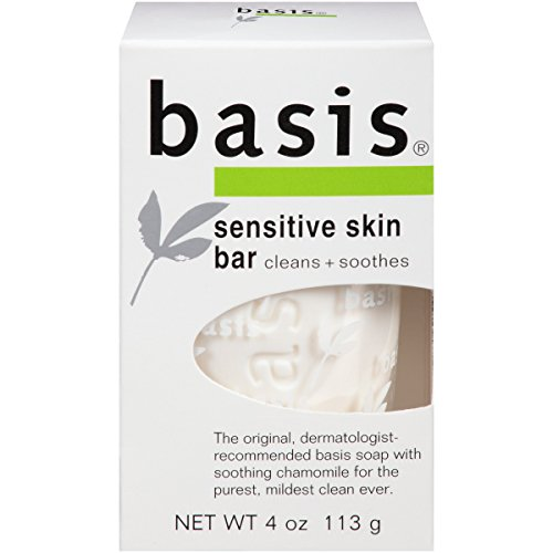 Basis Sensitive Skin Bar Soap – Body Wash Bar Cleans and Soothes with Chamomile and Aloe Vera – 4 oz. Bar Soap (Pack of 6)