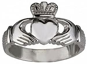 White Gold plated over sterling silver Buffy The Vampire Slayer Claddagh ring Pick your size