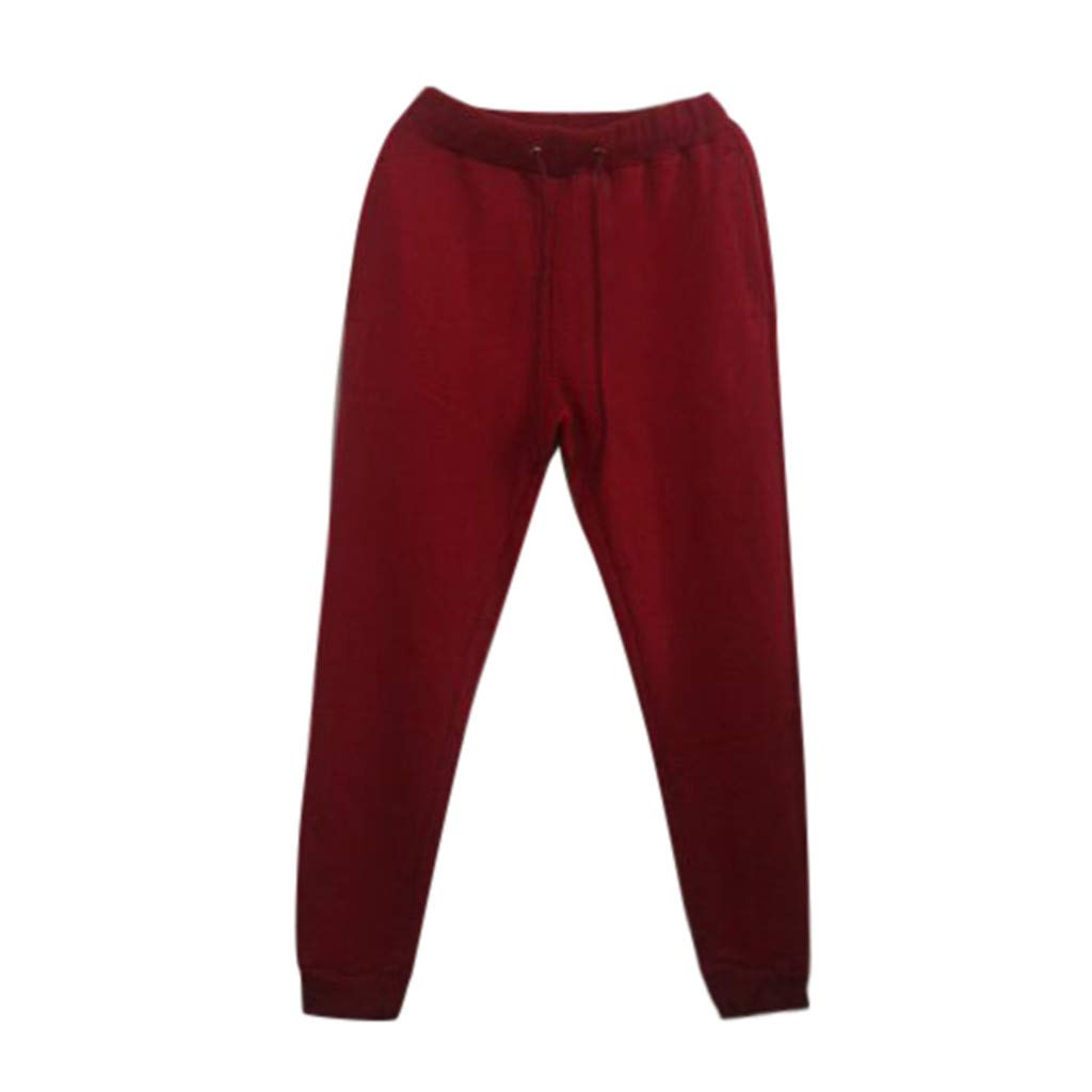 Sunyastor Men's Gym Jogger Pants Slim Fit Workout Running Training Sweatpants Running Track Pants with Pockets Red