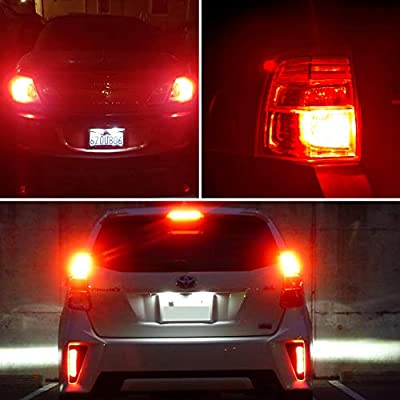 AUXLIGHT 3157 3156 3057 4157 3157K LED Bulbs Brilliant Red, Ultra Bright 57-SMD LED Replacement for Brake/Tail Lights, Blinker Lights, Turn Signal/Parking or Running Lights (Pack of 2): Automotive