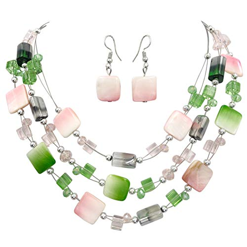 Multi Row Beaded Illusion Wire Lightweight Necklace and Dangle Earring Set (Pink & Green Shell)]()