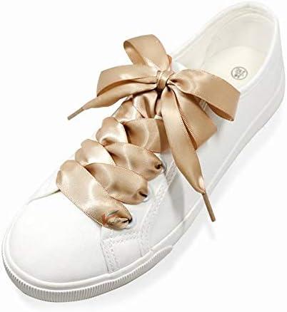 靴ひも カラー サテン リボン 女の子 平型くつひも リボン幅 スニーカー 無地 平ヒモ シューレース シューズひも シューズアクセサリー 靴紐