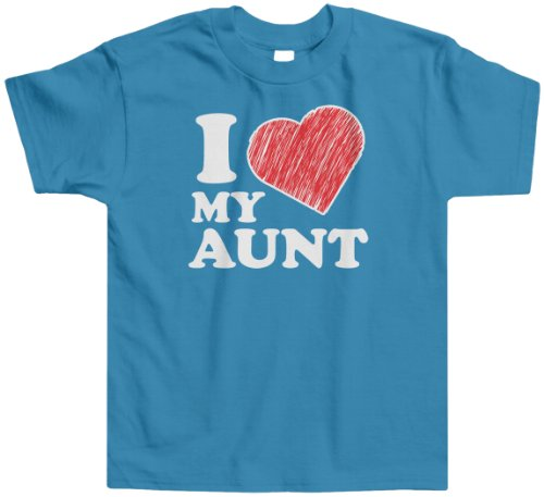Aunt Girls T-shirt (Threadrock Little Boys' I Love My Aunt Toddler T-Shirt 2T Turquoise)