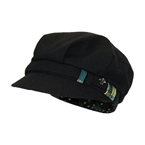 Black Wool Blend Newsboy Jockey Cap w/ Rhinestone Gem, Classic (Scala Classic Hat)