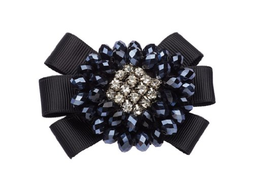 La Loria Shoe Clips for Woman'Rising Sun' Ribbon Bow, Shoe Embellishments Brooches, Shoe Jewelry in colour darkblue-black, 1 Pair