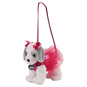 Poochie & Co Girl's Plush Puppy Dog Purse - Pink Sequins with Tutu – Ruby the King Charles Cavalier - Pink Collar, Strap, and Bows