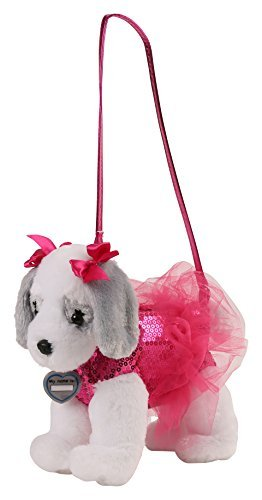 Poochie & Co Girl's Plush Puppy Dog Purse - Pink Sequins with Tutu – Ruby the King Charles Cavalier - Pink Collar, Strap, and Bows Girl Puppy Dog