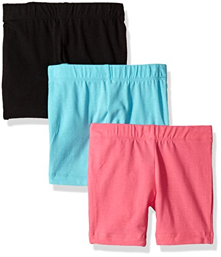 Dream Star Toddler Girls' 3 Pack Bike Short, Black/Aqua/Neon Pink, 4T