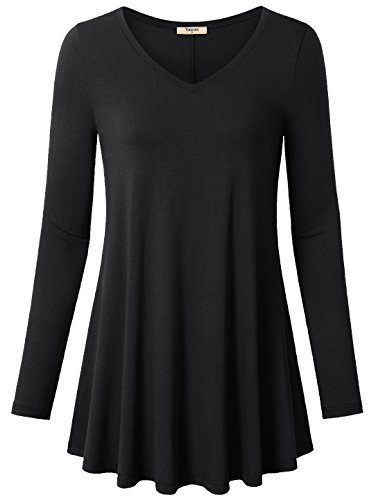 Long Sleeve Shirt,Timeson Women's Maternity Clothing V-Neck Flowy A-Line Casual Womens Workout Pleated Stretch Knit Basic Comfy Swing Tunic Tops Blouse Black Large
