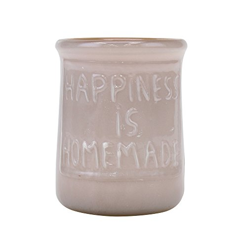 Stonebriar SB-5946A Farmhouse Happiness Embossed Sentiment Votive - Votive Glass Embossed