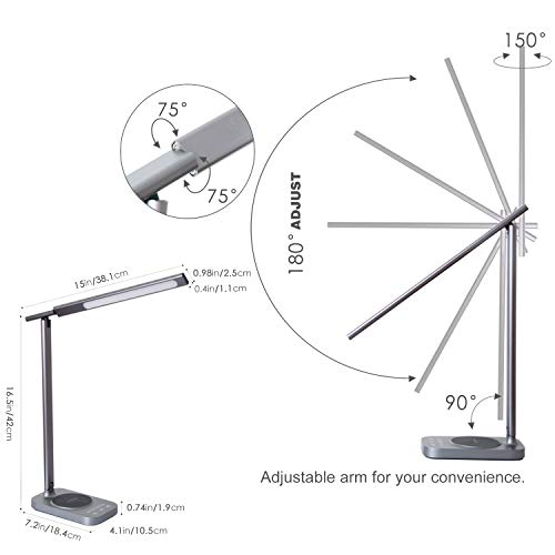ROZKY Desk Lamp with Wireless Charging for iPhone/Samsung/LG etc,USB Charging Port LED Desk Lamp,Stepless Sliding Dimmable/Timer/Touch/Memory Function,Grey by rozky (Image #3)