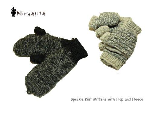 【NIRVANNA Designs】2Way Speckle Knit Glove&Mitton ネパール発の2ウェイミトン (1.Black(ブラック))