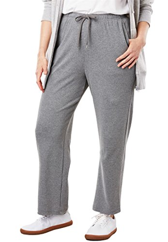Woman Within Plus Size Petite Sport Knit Straight Leg Pant - Medium Heather Grey, 3X