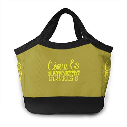 (FKCUYPL Dustproof Lunch Bags Time is Honey Beekeeper Snacks Organizer for)