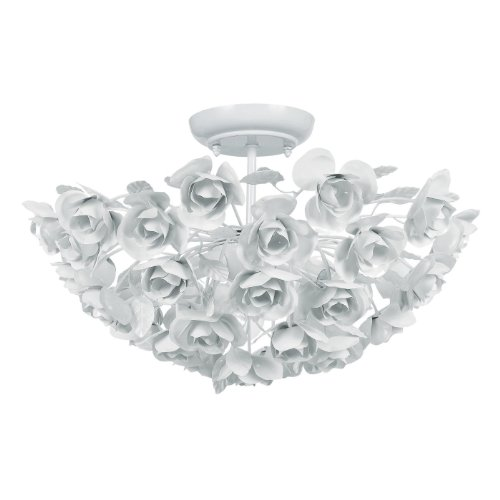 Crystorama 530-WW Leaf, Flower, Fruit Three Light Ceiling Mount from Cypress collection in Whitefinish, from Crystorama Lighting Group
