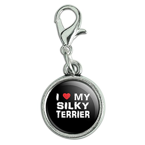Antiqued Bracelet Pendant Zipper Pull Charm with Lobster Clasp I Love My Dog S-Y - Silky Terrier (Terrier Silky Charm)
