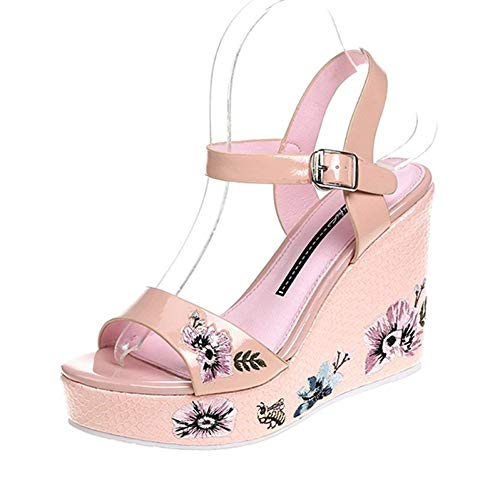 MEIZOKEN Womens Embroidery Flower Wedge Sandals Ankle Buckle Strap Shoes Open Toe Slingback Platform Sandals Pink ()