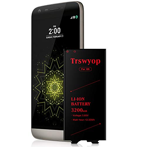 LG G5 Battery,Trswyop 3200mah Internal Replacement Li-ion Battery for LG G5 BL-42D1F [US992 VS987 H820 H830 LS992 H850 H858] LGG5 Spare Battery [24 Month Warranty]