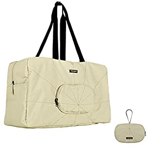 Travel Totes Luggage, Urban Forest Waterproof Ultralight Foldable Trave Bag (Off-White)