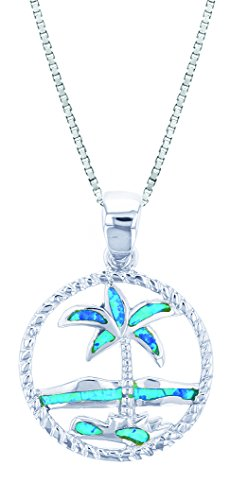 Sterling Silver Created Blue Opal Circle Palm Tree Necklace Pendant With 18