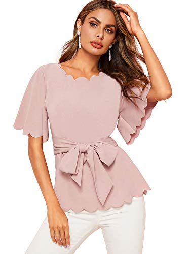(Romwe Women's Bow Self Tie Scalloped Cut Out Elegant Office Work Tunic Blouse Top Pink X-Small)