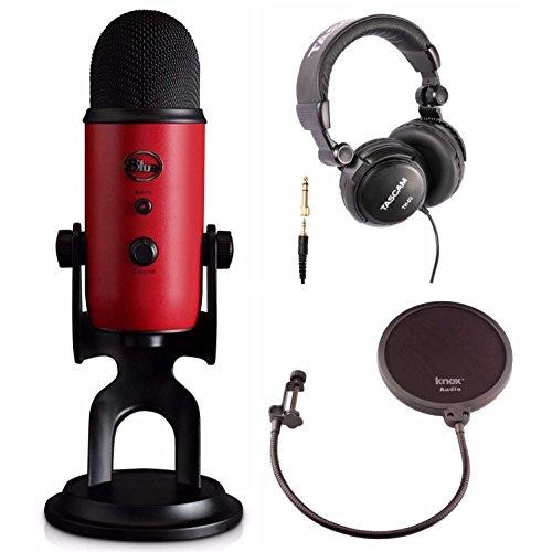 Blue Microphones Yeti USB Red Microphone with Studio Headphones and Knox Pop Filter by Blue