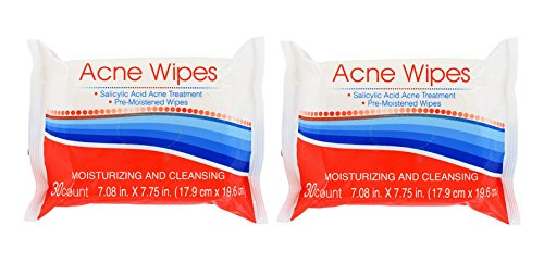 Acne Moisturizing & Cleansing Pre-Moistened Clean Clear Skin Wipes - TWO 30 count PACKAGES