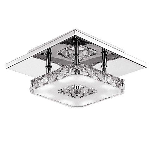 Hitommy Modern LED 12W Crystal Pendant Light Corridor Stainless Steel Ceiling Lamp Fixture AC85-260V - Warm White
