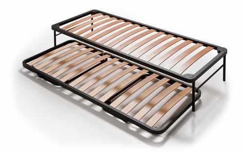 Set Lattenrost + Klappbett aus Stahlrahmen mit 14 Leisten aus Buche Schichtholz H40 cm | Combi